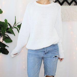 VTG Forenza White Pullover Knit Crew Neck Sweater